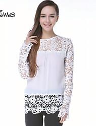 NUO WEI SI®  Women's Fashion Lace Crochet Chiffon Long Sleeve Floral Tops Blouses  T Shirt