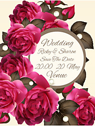 Personalized Wedding Invitations Rose Pattern Save The Date Paper Card 13.5cm x 13.5cm 50pcs/Set
