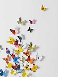 Adesivos de parede adesivos de parede 3d, 19pcs borboletas coloridas parede pvc etiquetas