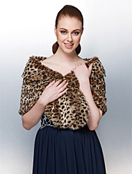 Fur Wraps Fur Wrap Rabbit Hair Fashion Leopard Print Fur Wrap