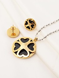 Fashion Heart Shape Clover Stainless Steel(Necklace&Earrings) Jewelry Set