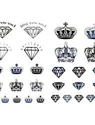 1pc New Design Temporary Tattoos Arm/Finger/Wrist Tattoos Diamond Crown Body Tattoos Fake Tattoos(17*16cm)