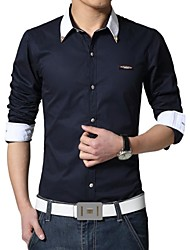 Men's High Quality Fashion Cultivating Long Sleeved Shirt (Cotton/Polyester)