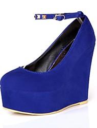 Chaussures Femme - Habillé - Noir / Bleu / Rouge / Beige - Talon Compensé - Compensées / Talons / Bout Arrondi - Talons -Laine