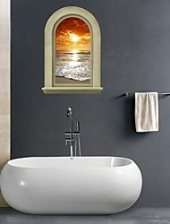 Adesivos de parede adesivos de parede 3d, parede do banheiro decoração mural pvc a paisagem natural stickers