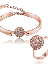 Women's Jewelry Set Unique Design Costume Jewelry Brass Zircon Gold Plated Chrome Rhinestones Rose Gold Plated Ball 1 Bracelet 1 Ring For
