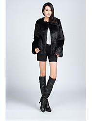 casacos de pele de manga comprida casacos de pele falso preto