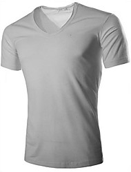 Men's Solid Casual T-Shirt,Lycra Short Sleeve-Black / Blue / Brown / Green / Red / White / Yellow / Gray