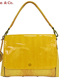 Kate&Co Women's Yellow Pvc Italian Style Luxury Mirror Face Shoulder Bag