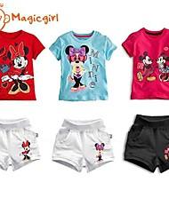 Girl's Summer Short Sleeve Cartoon Design T-shirts + Short Pants Casual Twinsets(Cotton)