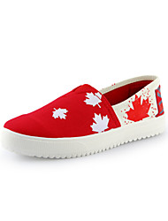 Women's Shoes Canvas Spring / Summer / Fall / Winter Creepers Loafers Office & Career / Casual Platform Slip-on Red