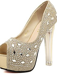Women's Shoes Chunky Heel  Peep Toe Pumps with Diamond Shoes More Colors available