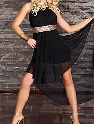 Elegant Lady Black Spandex Sexy Uniform Party Dress