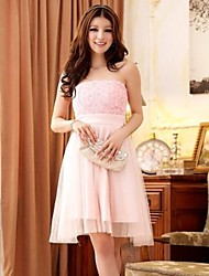 Vestido de Dama de Honor - Rosa Caramelo Corte A/Corte Princesa Strapless - Hasta la Rodilla Encaje/Poliéster