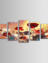 iarts pintura al óleo moderna del paisaje de flores silvestres conjunto de lienzos pintados 5 mano con el marco de estirado