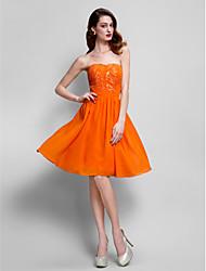 TS Couture® Cocktail Party Dress - Orange Plus Sizes / Petite A-line Strapless Knee-length Chiffon
