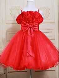 A-line Knee-length Flower Girl Dress - Satin / Tulle Sleeveless Straps with