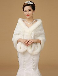 Fur Wraps Shawls Long Sleeve Wool WhiteShawls Long Sleeve Wool White