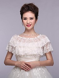 Wedding Wraps Capelets Sleeveless Lace White