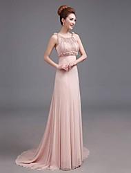 Formal Evening Dress - Blushing Pink Plus Sizes A-line Bateau Floor-length Satin