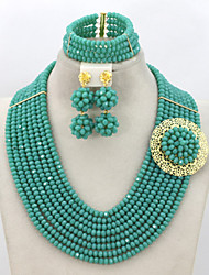 Fashion Crystal Party Beads Jewelry Set African Beads Lady Costume Jewelry Set