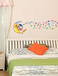Removable Moon And Music Notes Shaped Wall Sticker