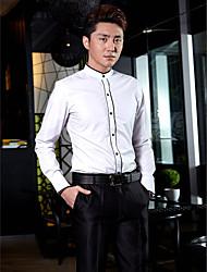Китайский воротничок - Рубашка (Белый , Хлопок/Полиэфир) Однотонный - Длинные