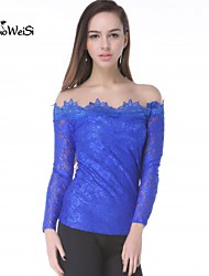 NUO WEI SI ® Women's Off The Shoulder Mesh Lace Blouse