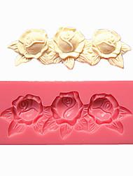 3 розы сброса кружева помадной массы формы торта формы шоколада для кухни выпечки в течение леденец