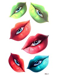 5Pcs  Waterproof  Lips And Eyes Pattern Tattoo Stickers