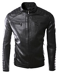 Men's high quality Trend PU black leather jacket