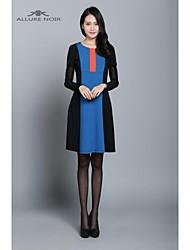 allure noir 2015 início da primavera vestido cor hit novo senhora vestido de tricô mosaico das mulheres