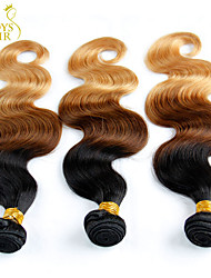 3 Pcs Lot 14-28 Ombre Mongolian Virgin Hair Extensions Body Wave Three Tone Black Brown Blonde 1B/4/27# Human Hair Weave