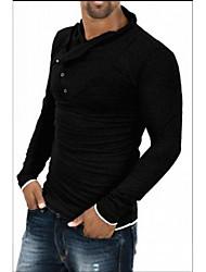 T-Shirts ( Coton mélangé ) Informel/Dentelle/Travail Col haut à Manches longues