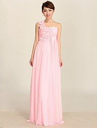Formal Evening Dress - Candy Pink Plus Sizes A-line One Shoulder Floor-length Chiffon