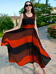 Women's Sexy / Beach / Casual / Maxi Dress , Round Neck Maxi Chiffon