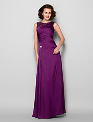 Lanting Sheath/Column Plus Sizes / Petite Mother of the Bride Dress - Grape Floor-length Sleeveless Satin Chiffon