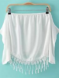 Women's Solid White Shirt , Off Shoulder Short Sleeve