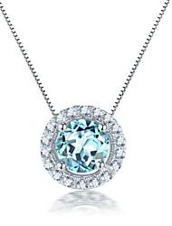 925 Sterling Silber Halsketten für Frauen natürlichen Topas Stein