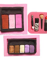 3pcs/Set Fashion Blush Lipstick Eyeshadow Makeup Fondant Cake Molds Chocolate Mould For The Kitchen Baking For Sugar
