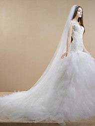 Trumpet / Mermaid Wedding Dress Cathedral Train V-neck Lace / Tulle with