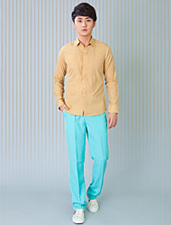 Shirts Classic (Semi-Spread) Long Sleeve Cotton/Polyester Solid khaki