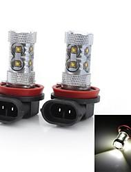 10 LED ad alta intesità H11 50 W 2000-3000 LM Luce fredda 2 pezzi DC 12/DC 24 V