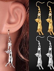U7® Lovely Girl's 18K Gold Plated Earrings Cute Kitty Cat Drop Earrings Rhinestone Jewelry for Women High Quality