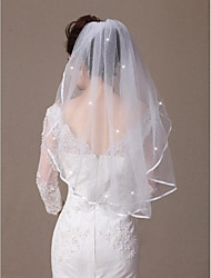Wedding Veil One-tier Elbow Veils Ribbon Edge / Beaded Edge 31.5 in (80cm) Tulle