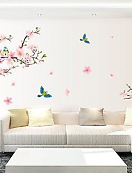 parede adesivos de parede decalques flor de pêssego e magpies apresentam pvc removível e lavável