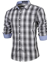 Men's Casual Plaids & Checks/Pure Long Sleeve Shirts (Cotton)
