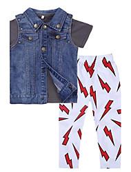Boy's Summer Inelastic Medium Short Sleeve Clothing Three Pieces Sets (Cotton Blends)