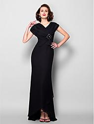Lanting Sheath/Column Plus Sizes / Petite Mother of the Bride Dress - Black Asymmetrical Short Sleeve Chiffon