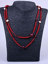 Necklace Strands Necklaces / Pearl Necklace Jewelry Party / Daily / Casual Fashion Pearl / Resin Red 1pc Gift